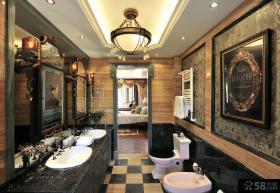 豪华欧式两室一厅客厅吊灯装修效果图