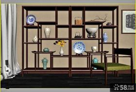 中式客厅博古架隔断效果图