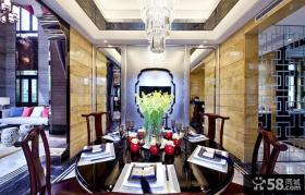 现代中式别墅餐厅吊顶高档装修