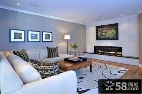 8万打造70平米现代简约风格客厅装修效果图大全2014图片