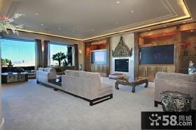 美式豪华别墅客厅电视背景墙效果图