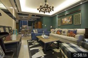 美式复古风格客厅装修效果图大全