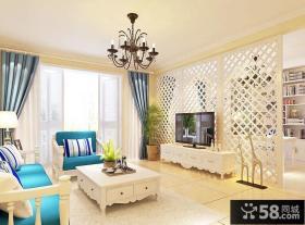 简欧风格客厅电视背景墙装修效果图2014