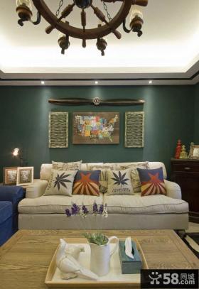美式复古风格一居客厅沙发背景墙装饰画图片