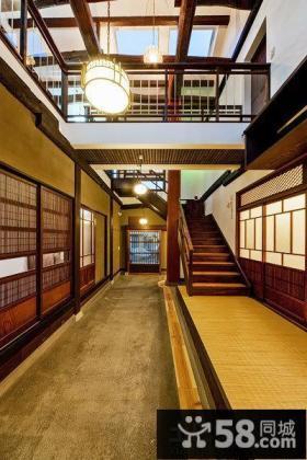 日式别墅家装室内楼梯效果图