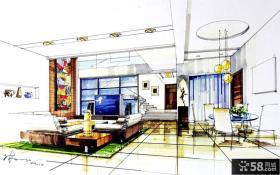 别墅室内设计手绘效果图