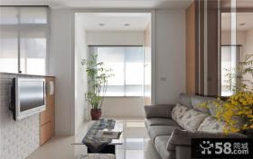 现代简约风格装修小客厅电视机背景墙图片