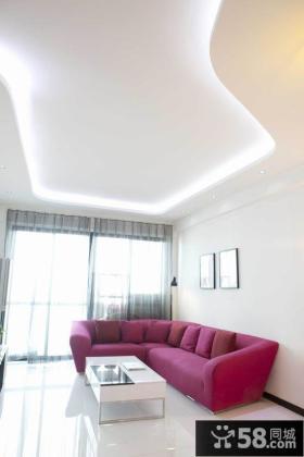 现代家居客厅不规则吊顶设计