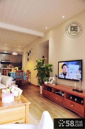 田园风格家居客厅简单电视背景墙装修效果图