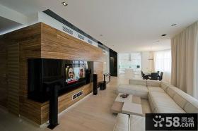 家居现代简约客厅电视背景墙效果图