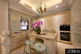 豪华欧式别墅厨房吧台设计效果图片