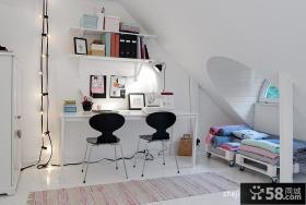 2013现代风格复式斜顶阁楼书房装修效果图欣赏