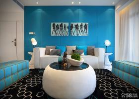 现代三室两厅客厅沙发背景墙装修图片