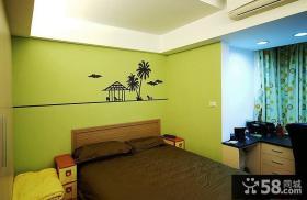 现代设计小卧室床头墙纸