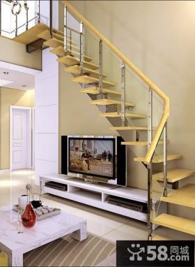 家居室内实木楼梯扶手图片