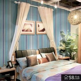 卧室条纹墙纸效果图欣赏