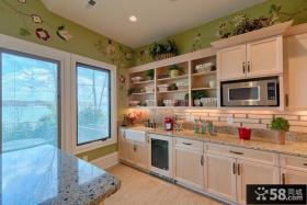 开放式厨房橱柜大理石台面效果图