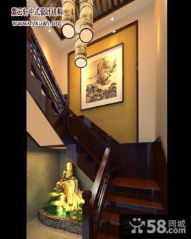 中式风格复式楼楼梯间装修效果图