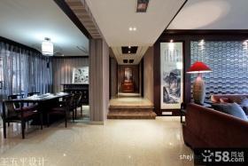 新中式风格客厅过道装修效果图片大全