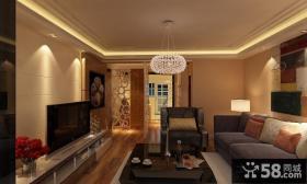 客厅吊顶影视背景墙的石材装修设计