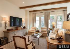 美式设计10平米客厅电视背景墙图