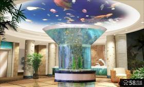 豪华别墅大厅鱼缸设计效果图