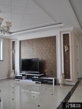欧式客厅电视背景墙装潢效果图片