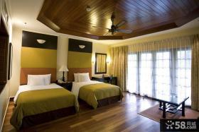 美式风格双人房卧室装修效果图 卧室吊顶装修设计图片