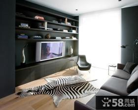 沉稳大气的浅黑色客厅电视机背景墙装修效果图大全2012图片