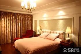 卧室床头花纹壁纸背景墙效果图