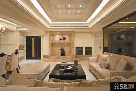 白色简约风格客厅设计装修效果图