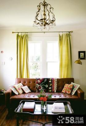 9万打造田园美式风格小户型客厅窗帘装修效果图大全2014图片