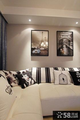 现代简约沙发背景墙装饰画效果图