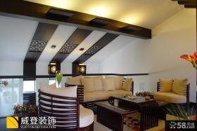 中式风格复式楼二楼客厅装修效果图