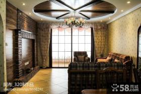 美式乡村风格客厅吊顶效果图欣赏
