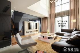 现代简约别墅客厅电视背景墙效果图