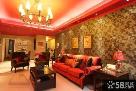 东南亚风格客厅沙发背景墙壁纸效果图