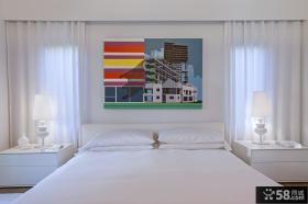 简约卧室床头背景墙装饰画图片