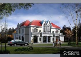 欧式风格乡村二层别墅外观效果图