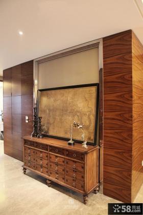 室内实木玄关鞋柜效果图片