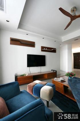 宜家简单装修客厅电视背景墙设计图片