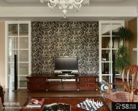 美式家装电视墙壁纸图片