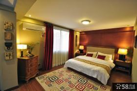 酒红色卧室背景墙装修效果图 2012优质婚房卧室装修