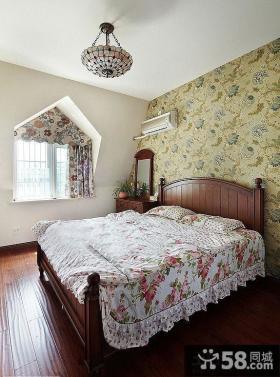 美式田园卧室壁纸装修效果图