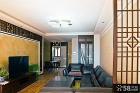 现代中式风格客厅瓷砖电视背景墙效果图