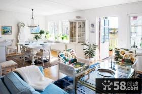 116平米复式楼客厅装修效果图 优雅清新蓝调