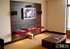 简美式电视背景墙装修效果图大全2014图片