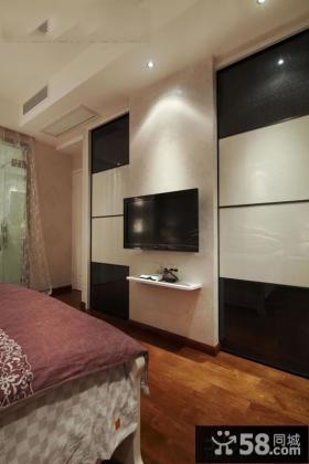 现代家庭卧室电视背景墙图片大全