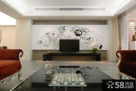 现代手绘背景墙设计装潢