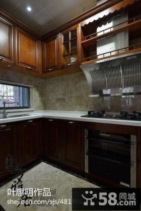 中式风格别墅整体厨房装修效果图